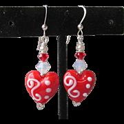 """""""My Secret Garden"""" Lampwork Art Glass Artisan Sterling Silver Earrings, """"Valentine Candy Hearts"""" #107"""