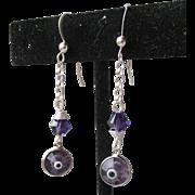 """My Secret Garden"" Artisan Art Glass Swarovski Crystal Sterling Silver Dangle Earrings, ""Violaceous Evil Eye"" #106"