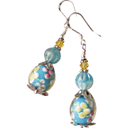 """My Secret Garden"" Artisan Lampwork Art Glass & Swarovski Crystal Sterling Silver Earrings, ""Sun Kissed Aqua Flora"" #105"