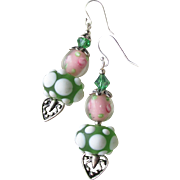 """My Secret Garden"" Artisan Lampwork Art Glass & Swarovski Crystal Sterling Silver Earrings, ""Hearts 'n Roses"" #108"