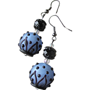 """My Secret Garden"" Artisan Lampwork Art Glass Earrings, ""Black & Blue Belles"" #109"