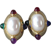 Big Chunky 1980's Vintage Oval Jeweltone Cabochon & Faux Pearl Clip Gold Tone Earrings
