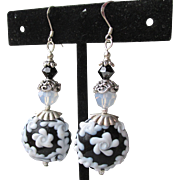 """My Secret Garden"" Artisan Lampwork Art Glass & Swarovski Crystal Sterling Silver Earrings, ""Tuxedo Bouquet"" #110"