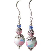 """My Secret Garden"" Artisan Lampwork Art Glass & Swarovski Crystal Sterling Silver Earrings, ""Watercolor Blush"" #111"