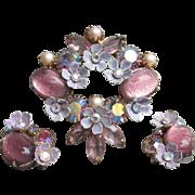 Vintage Signed KRAMER Lavender & Pink Foil Glass Cabochon, Rhinestone FLOWER Pin + Converted Earrings Set