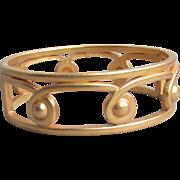 Vintage MONET Matte Gold Tone Etruscan Bangle Bracelet