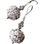"""My Secret Garden"" Artisan Lampwork Art Glass & Swarovski Crystal Sterling Silver Earrings, ""Snowball Bush"" #112"