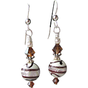 """My Secret Garden"" Artisan Lampwork Art Glass & Swarovski Crystal Sterling Silver Earrings, ""Foiled Chocolate Drizzle"" #113"