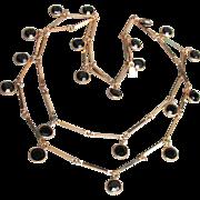 Vintage Swarovski Dangle Black Open Back Crystal Gold Tone Bar Chain Long Necklace