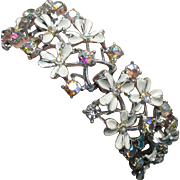 Wide Vintage CORO White Enamel Aurora Borealis Rhinestone Flower Bracelet