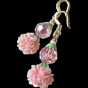 """My Secret Garden"" Artisan Lampwork Art Glass & Swarovski Crystal Sterling Silver Earrings, ""Golden Pink Carnations"" #115"