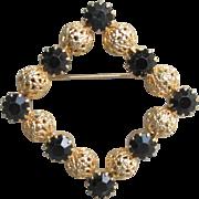 Juliana D&E Vintage Black Rhinestone Gold Filigree Ball Square Pin