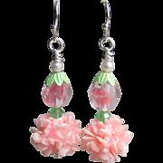 """""""My Secret Garden"""" Artisan Lampwork Art Glass & Swarovski Crystal Sterling Silver Earrings, """"Silvery Pink Carnations"""" #122"""