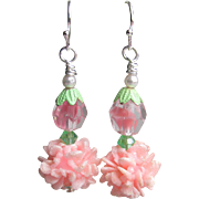 """My Secret Garden"" Artisan Lampwork Art Glass & Swarovski Crystal Sterling Silver Earrings, ""Silvery Pink Carnations"" #122"