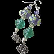 """My Secret Garden"" Artisan Lampwork Art Glass & Swarovski Crystal Sterling Silver Earrings, ""Deco Lime Blossoms"" #114"