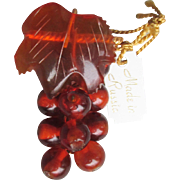 Vintage Russian Genuine Honey Amber Grape Bunch Pin, New with Original Tag!