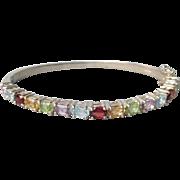 """Vintage Multi Gemstone Sterling Silver Hinged Bangle Bracelet, Large 7 1/2"""""""