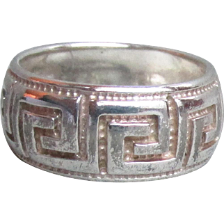 Vintage Italian Sterling Silver Sterling Silver GREEK KEY Band Ring, Size 7