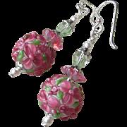 """""""My Secret Garden"""" Lampwork Art Glass Artisan Earrings, """"Raspberry Margaritas"""" #116"""