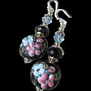 """Secret Garden"" Lampwork Art Glass & Swarovski Crystal Sterling Silver Artisan Earrings, ""Midnight Blooms"" #117"