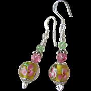 """""""My Secret Garden"""" Artisan Lampwork Art Glass & Swarovski Crystal Sterling Silver Earrings, """"Cherry Blossom Time"""" #119"""