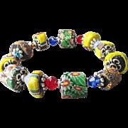 Artisan Antique African Trade Venetian Art Glass Bead & Swarovski Multi-Colored Crystal Stretch Bracelet #6
