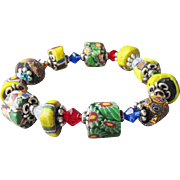 Artisan Antique African Trade Venetian Art Glass Bead & Swarovski Multi-Colored Crystal Stretch Bracelet #6