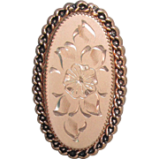 Vintage 1950's Signed Catamore 12k Yellow Gold Filled Flower Etched Oval Pin, Retro Brooch