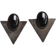 1970's Vintage Art Deco Revival Black Sterling Silver & Onyx Pierced Earrings