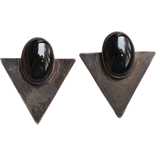 1970's Vintage Art Deco Revival Black Sterling Silver & Onyx Pierced Earrings