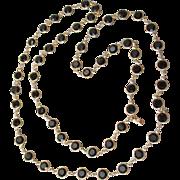 """Vintage Signed Swarovski 36"""" Long Black Open Back Crystal Necklace"""