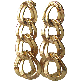 1980's Vintage Signed MONET Chunky Gold Tone Chain Dangle Pierced Earrings