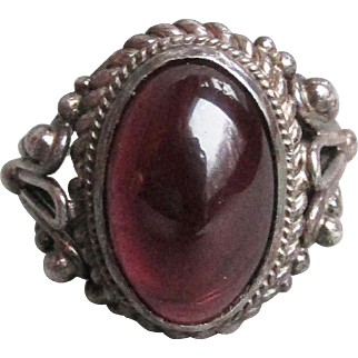 BIG Vintage Oval Dark Blood Red Garnet Cabochon Balinese Sterling Silver Ring, Size 8