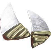 Vintage Modernist Taxco Mexico Sterling Silver & Gold Plated Vermeil Pierced SAIL BOAT Earrings
