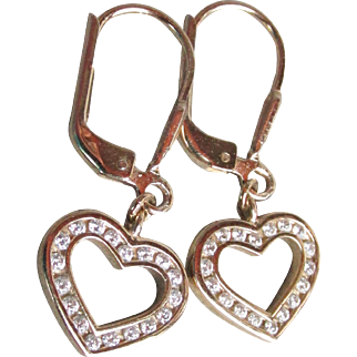 Dainty Vintage Gold Plated Sterling Silver Rhinestone Heart Dangle Lever Back Pierced Earrings