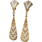Vintage Signed SPAIN Long Thin Damascene Dangle Earrings