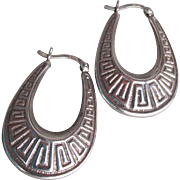 Vintage Oval PUFFY Hoop Sterling Silver Greek Key Design Pierced Earrings