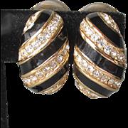 Authentic Vintage Signed Christian DIOR Black Enamel Rhinestone 1980's Demi Hoop Shrimp Earrings