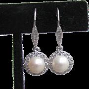 Vintage Sterling Silver, Cultured Pearl & Rhinestone Dangle Pierced Earrings