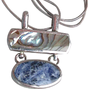 Lapis Lazuli & Abalone Paua Shell Sterling Silver Vintage Necklace