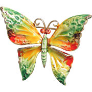 1960's Vintage Signed WEISS Enamel Vibrant Hippie Colors Butterfly Pin