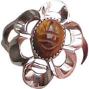 Vintage Adjustable Signed BEAU Sterling Silver Tiger Eye SCARAB Ring