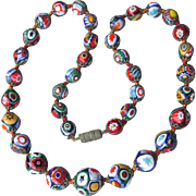 Incredible Vintage Venetian Art Glass Millefiori Hand-Knotted Bead Necklace, FINE