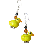 """My Secret Garden"" Artisan Lampwork Art Glass & Swarovski Crystal Sterling Silver Earrings, ""Easter Chicks"" #121"