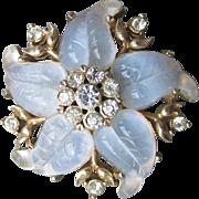 COROCRAFT Coro Craft 1940's Pale Blue Opaline Molded Glass & Rhinestone Flower Pin