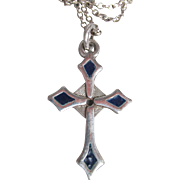 Vintage Sterling Silver & Navy Blue Enamel Cross Necklace