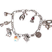 Sterling Silver Vintage 1970's Charm Bracelet with Twelve Charms, 2 Moving