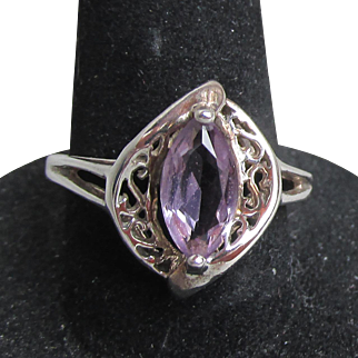 Vintage Avon Sterling Silver Filigree Marquis Amethyst Ring, Size 7