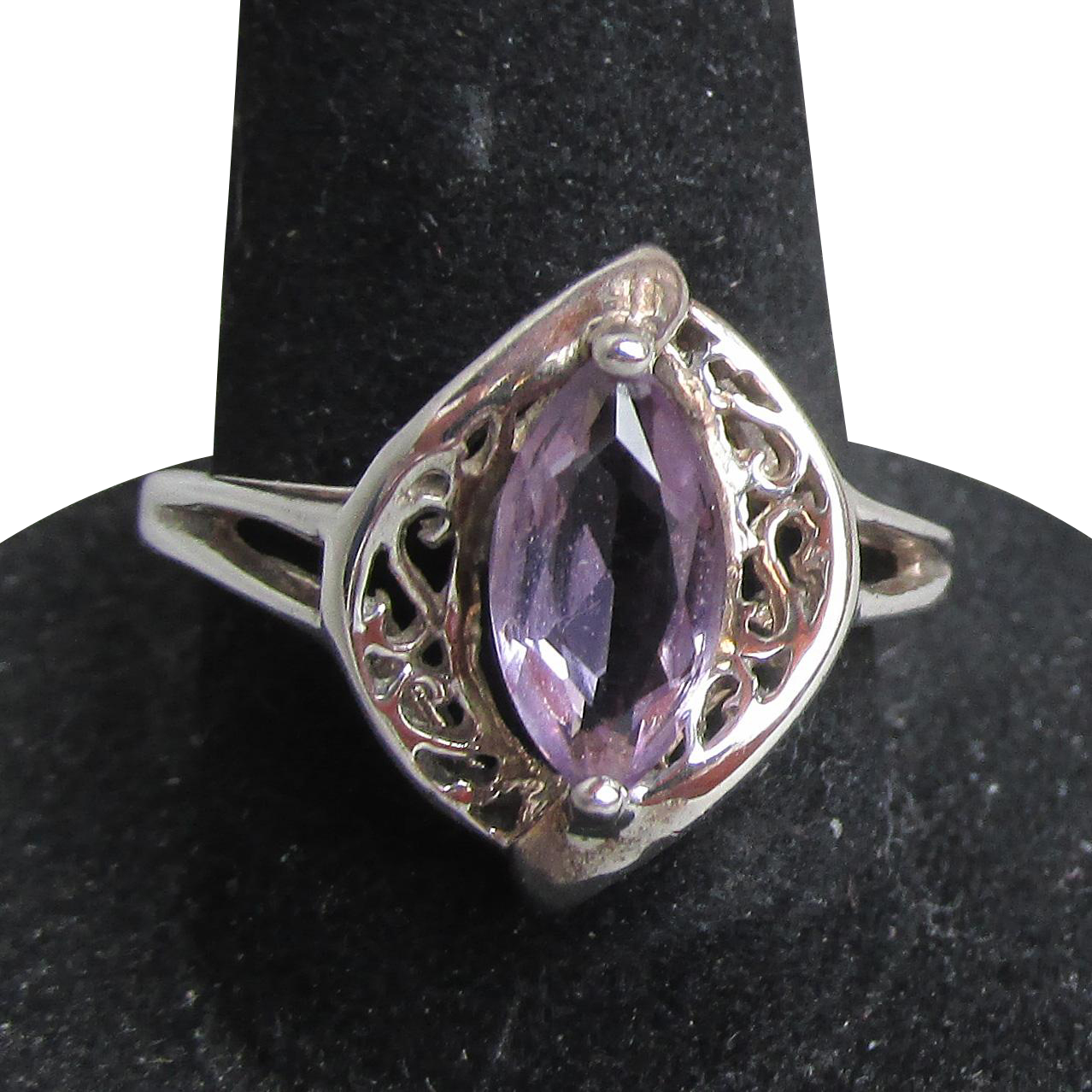 Vintage Avon Sterling Silver Filigree Marquis Amethyst