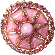 1930's Vintage Czech Pink Moonglow Glass Cabochon & Rhinestone Pin